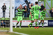 Forest Green Rovers Christian Doidge(9) and celebrates his goal with Forest Green Rovers Kieffer Moore(14), 2-0 during the Vanarama National League match between Forest Green Rovers and Guiseley  at the New Lawn, Forest Green, United Kingdom on 22 October 2016. Photo by Shane Healey.