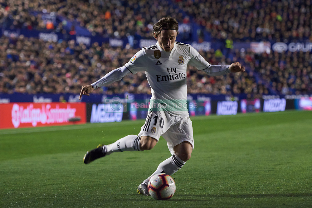 February 24, 2019 - Valencia, U.S. - VALENCIA, SPAIN - FEBRUARY 24: Luka Modric, midfielder of Real Madrid CF with the ball during the La Liga match between Levante UD and Real Madrid CF at Ciutat de Valencia stadium on February 24, 2019 in Valencia, Spain. (Photo by Carlos Sanchez Martinez/Icon Sportswire) (Credit Image: © Carlos Sanchez Martinez/Icon SMI via ZUMA Press)
