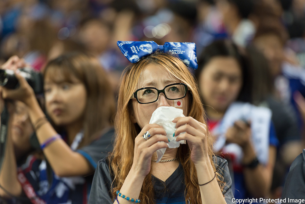 Football Soccer - Japan v Australia - World Cup 2018 Qualifier - Saitama Stadium 2002, Saitama, Japan - 31/08/17. A Japanese supporter cried after the qualification of the japanese team for the world cup 2018 in Russia. 31/08/2017-Saitama, JAPAN