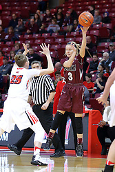 29 January 2017:  Olivia Bowling tosses a pass over Hannah Green during an College Missouri Valley Conference Women's Basketball game between Illinois State University Redbirds the Salukis of Southern Illinois at Redbird Arena in Normal Illinois.