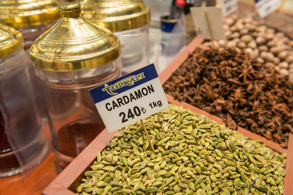 Cardamom seeds out on display for sale at Istanbul Spice bazaar in Turkey