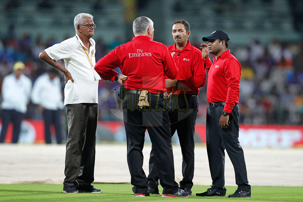 The umpires talk during the 1st One Day International between India and Australia held at the M. A. Chidambaram Stadium in Chennai on the 17th September 2017<br /> <br /> Photo by Deepak Malik / BCCI / SPORTZPICS