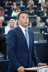 Italy's Prime Minister Matteo Renzi gives the speach in front of European Parliament during the second day of plenary session at the European Parliament headquarters in Strasbourg, France on 02.07.2014 Italy starts its six-month term as member state in charge of the Presidency of the European Council. EXPA Pictures © 2014, PhotoCredit: EXPA/ Photoshot/ Wiktor Dabkowski<br /> <br /> *****ATTENTION - for AUT, SLO, CRO, SRB, BIH, MAZ only*****