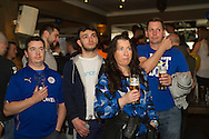 Leicester City fans pictured in Yates Bar watching the Premier League match against Manchester United.<br /> Picture by Anthony Stanley/Focus Images Ltd 07833 396363<br /> 01/05/2016