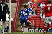 Photo: Rich Eaton.<br /> <br /> Barnsley v Cardiff City. Coca Cola Championship.<br /> <br /> 05/08/2006. Joe Ledley celebrates Cardiffs first goal