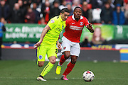 Brighton striker Anthony Knockaert gets the better of Charlton Athletic midfielder Callum Harriott during the Sky Bet Championship match between Charlton Athletic and Brighton and Hove Albion at The Valley, London, England on 23 April 2016. Photo by Bennett Dean.