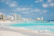 The beach in the hotel zone of Cancun, Mexico.