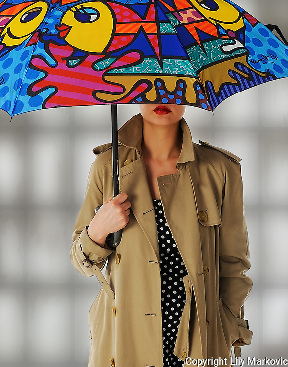 Lady with colorful Umbrella