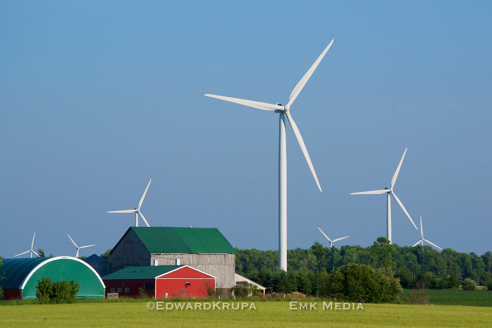 Large (80m) wind turbines on a farm in Bruce County Ontario, Canada. Part of the Enbridge Ontario Wind Farm.