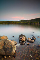 """Donner Lake Sunset 48"" - Photograph of boulders along the shoreline of Donner Lake in Truckee, California."