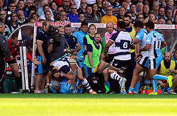 Bristol and Worcester players are involved in a scuffle - Photo mandatory by-line: Joe Meredith/JMP - Mobile: 07966 386802 - 7/09/14 - SPORT - RUGBY - Bristol - Ashton Gate - Bristol Rugby v Worcester Warriors - The Rugby Championship