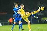 Jim McNulty challenges for the ball during the EFL Sky Bet League 1 match between Oxford United and Rochdale at the Kassam Stadium, Oxford, England on 27 November 2018.