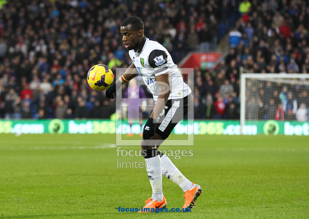 Picture by Tom Smith/Focus Images Ltd 07545141164<br /> 01/02/2014<br /> S&eacute;bastien Bassong of Norwich City watches the ball down during the Barclays Premier League match at the Cardiff City Stadium, Cardiff.