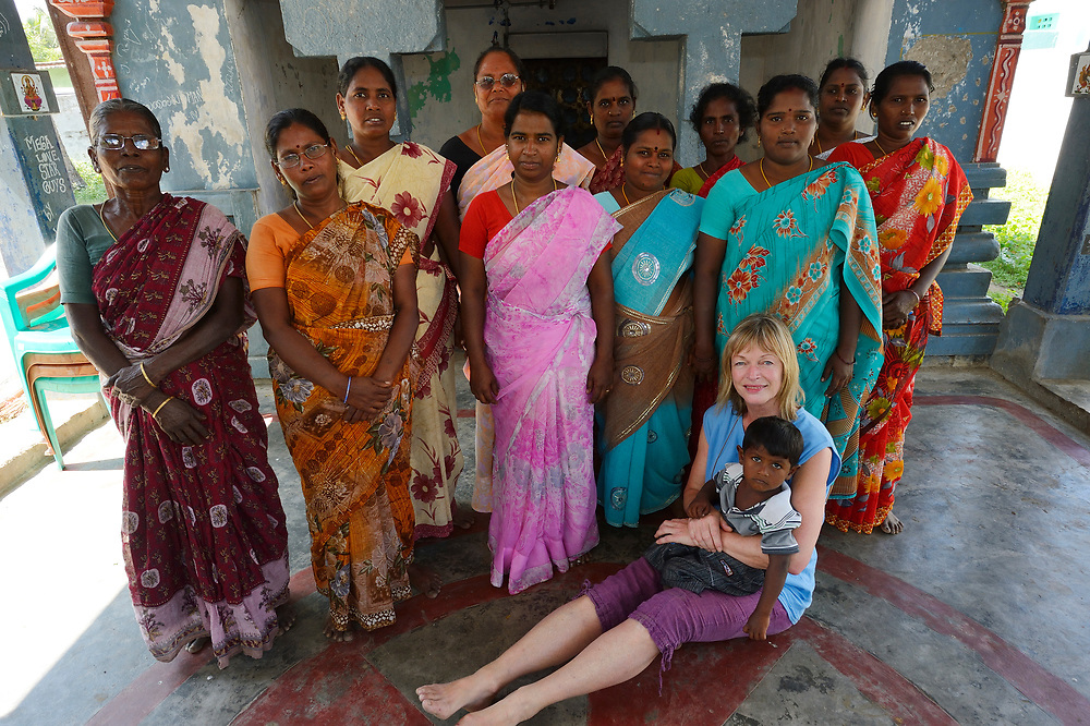 "Women's Self Help group,""Light Breeze"", Pulicat town, with ranveig Eckhoff in front, Pulicat Lake, Tamil Nadu, India"