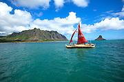 Hokualakai, Hawaiian sailing canoe, Kaneohe Bay, Oahu, Hawaii