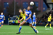 Hartlepool United forward Nicke Kabamba (9) battles for possession  with Oxford United midfielder Alex Rodriguez Gorrin (6) during the The FA Cup match between Oxford United and Hartlepool United at the Kassam Stadium, Oxford, England on 4 January 2020.