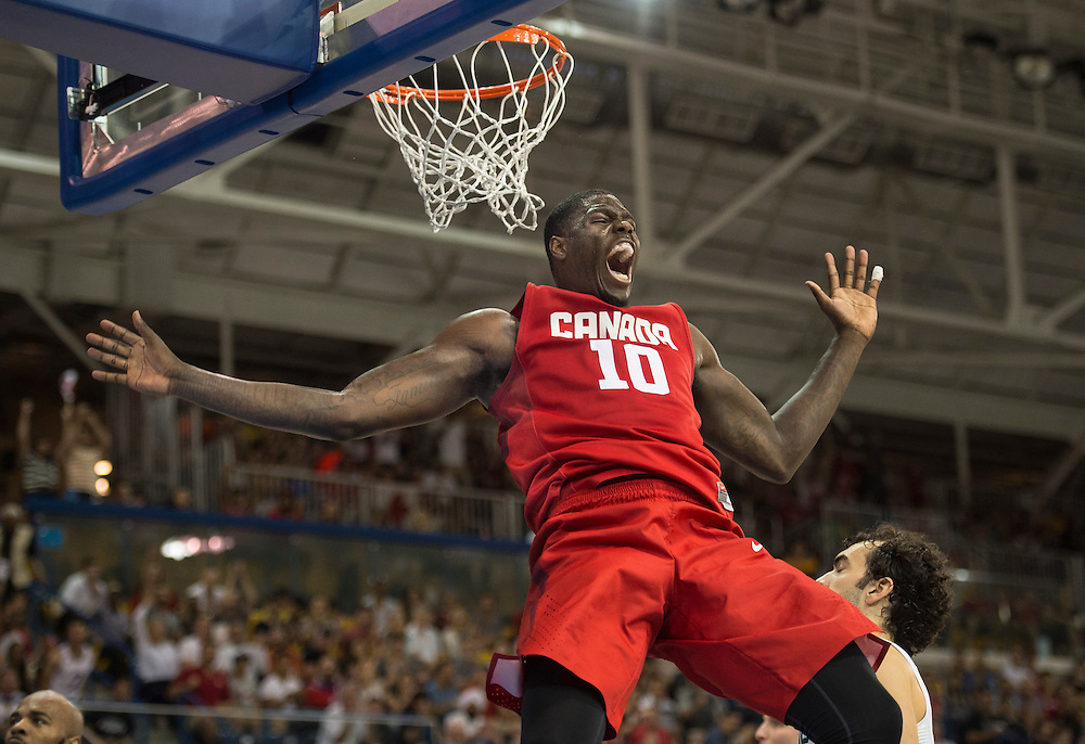 Basketball-Men's Finals-Canada vs. Brazil-  Canada's Anthony Bennett reacts after a dunk during men's basketball competition at the 2015 PanAm Games in Toronto.