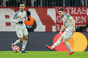 Liverpool midfielder James Milner (7) passes the ball during the Champions League match between Bayern Munich and Liverpool at the Allianz Arena, Munich, Germany, on 13 March 2019.