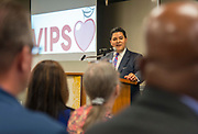 Houston ISD Superintendent Richard Carranza comments during a Volunteers in Public Schools VIPS award ceremony, April 13, 2017.
