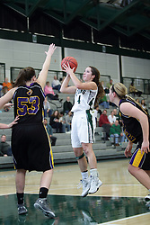12 December 2015: Rebekah Ehresman takes a shot over Allie Miceli.  during an NCAA women's basketball game between the Wisconsin Stevens Point Pointers and the Illinois Wesleyan Titans in Shirk Center, Bloomington IL