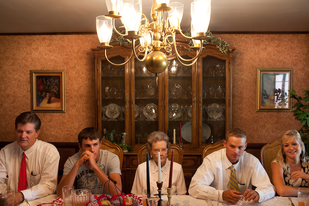 From left, Leighton Romney, Braden Romney, Nellie Romney, Derrick Romney, and Laurice Romney, have lunch in Colonia Juarez, Mexico in July 2011. United States Presidential candidate Mitt Romney's family migrated to Mexico over 100 years ago after being granted asylum from Mexican President Porfirio Diaz after they had been pursued by the U.S. authorities for polygamy. ..(Romney is currently running for the Republican nomination.)