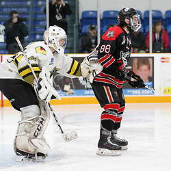TRENTON, ON  - MAY 5,  2017: Canadian Junior Hockey League, Central Canadian Jr. &quot;A&quot; Championship. The Dudley Hewitt Cup. Game 7 between The Georgetown Raiders and The Powassan Voodoos. Nate McDonald #33 of the Powassan Voodoos and Andrew Court #88 of the Georgetown Raiders during the play in the first period <br /> (Photo by Amy Deroche / OJHL Images)