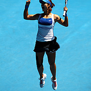 Li Na of China reacts after winning her quarterfinal match against Venus Williams of the US at the Australian Open Tennis Tournament in Melbourne, Australia, 27 January 2010. Na won in three sets.