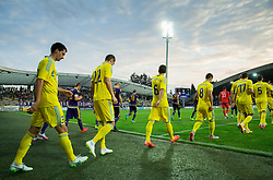 Branko Ilic of Astana and other players coming to court during First Leg football match between NK Maribor and FC Astana in Second qualifying round of UEFA Champions League, on July 14, 2015 in Stadium Ljudski vrt, Maribor, Slovenia. Photo by Vid Ponikvar / Sportida