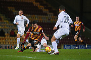 Bradford City midfielder, on loan from Newcastle United, Haris Vuckic (19)  goes over under the challenge from Northampton Town defender David Buchanan (3)  during the EFL Sky Bet League 1 match between Bradford City and Northampton Town at the Coral Windows Stadium, Bradford, England on 22 November 2016. Photo by Simon Davies.