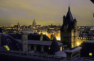 France. Paris. elevated view. seine river, quai des orfevres, left bank and the pantheon . view from the justice palace.  Paris  France