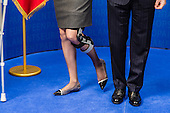 Belgian Queen Mathilde on crutches at European Parliament