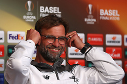 BASEL, SWITZERLAND - Tuesday, May 17, 2016: Liverpool's manager Jürgen Klopp during a press conference ahead of the UEFA Europa League Final against Sevilla FC at St. Jakob-Park. (Pic by UEFA/Pool/Propaganda)