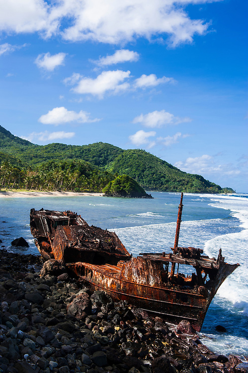 Shipwreck on the east coast of Tutuila island, American Samoa, South Pacific
