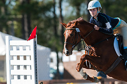 November 11, 2016 - Raeford, North Carolina, US - Nov. 12, 2016 - Raeford, North Carolina, USA - KENDALL McNEILL and her horse, HALF PINT, clear a jump during the 2016 War Horse Event Series Championships, Nov. 12 at Carolina Horse Park in Raeford, N.C. Founded in 2013 as the Cabin Branch Event Series, the War Horse Event Series consists of five horse trials and combined tests and attracts riders and their horses from across the eastern United States. (Credit Image: © Timothy L. Hale via ZUMA Wire)