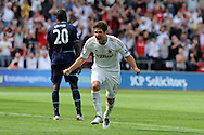 Swansea city's Danny Graham celebrates after he scores his sides 3rd goal. . Barclays Premier league, Swansea city  v West Ham Utd at the Liberty Stadium in Swansea, South Wales  on Saturday 25th August 2012. pic by Andrew Orchard, Andrew Orchard sports photography,