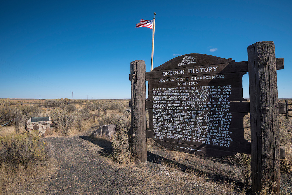 "Gravesite and historical marker for Sacagawea's son ""Pomp"" (Jean Baptiste Charbonneau); Malheur County, southeastern Oregon."