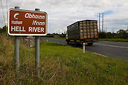 "Sign for Hell River, Tulla, Co. Clare, Ireland. Weird on this - I've yet been able to find out why it's called ""Hell River""!....The road is the R352 between Ennis and Tuamgraney"