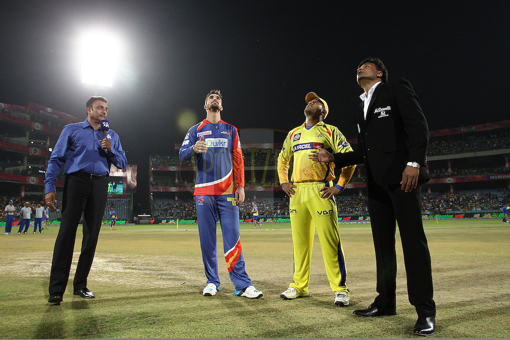 Kevin Pietersen captain of of the Delhi Daredevils tosses the coin as MS Dhoni captain of The Chennai Super Kings calls and Match Referee Javagal Srinath looks on during match 26 of the Pepsi Indian Premier League Season 2014 between the Delhi Daredevils and the Chennai Super Kings held at the Feroze Shah Kotla cricket stadium, Delhi, India on the 5th May  2014<br /> <br /> Photo by Shaun Roy / IPL / SPORTZPICS<br /> <br /> <br /> <br /> Image use subject to terms and conditions which can be found here:  http://sportzpics.photoshelter.com/gallery/Pepsi-IPL-Image-terms-and-conditions/G00004VW1IVJ.gB0/C0000TScjhBM6ikg