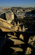 France. paris. 1st district. elevated view on Paris. Beaubourg museum and fhe forum des halles, view from Saint Eustache church bell tower