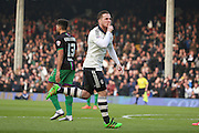 \f44 celebrating scoring opening goal 1-0 during the Sky Bet Championship match between Fulham and Bristol City at Craven Cottage, London, England on 12 March 2016. Photo by Matthew Redman.