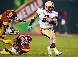 Dec 26, 2009; San Francisco, CA, USA;  Boston College Eagles running back Montel Harris (2) rushes against the Southern California Trojans during the second quarter of the 2009 Emerald Bowl at AT&T Park.  USC defeated BC 24-13.
