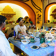Table setting in the Spanish colonial museum at Xcarat Maya theme park south of Cancun and Playa del Carmen on Mexico's Yucatana Peninsula.