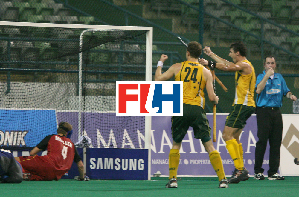 Kuala Lumpur : Travis Brooks and  Nathan Edington celebrate their goal against Germany in the Samsung Hockey Men Champions Trophy at the National Stadium, Bukit Jalil, Malaysia on 08 Dec 2007.<br /> Australia beat Germany 5-0.<br /> Photo:GNN/Vino John