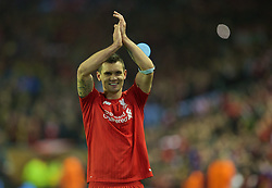 LIVERPOOL, ENGLAND - Thursday, April 14, 2016: Liverpool's Dejan Lovren celebrates after his goal was the decisive dramatic fourth goal against Borussia Dortmund in injury time to seal a 4-3 (5-4 aggregate) victory during the UEFA Europa League Quarter-Final 2nd Leg match at Anfield. (Pic by David Rawcliffe/Propaganda)