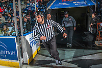 KELOWNA, CANADA - APRIL 14: Linesmen Dustin Minty and Nathan Van Oosten enter the ice at the Kelowna Rockets against the Portland Winterhawks on April 14, 2017 at Prospera Place in Kelowna, British Columbia, Canada.  (Photo by Marissa Baecker/Shoot the Breeze)  *** Local Caption ***