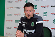 New Hibernian manager, Paul Heckingbottom, speaks to the media during the press conference for Hibernian FC at Hibernian Training Centre, Ormiston, Scotland on 15 February 2019.