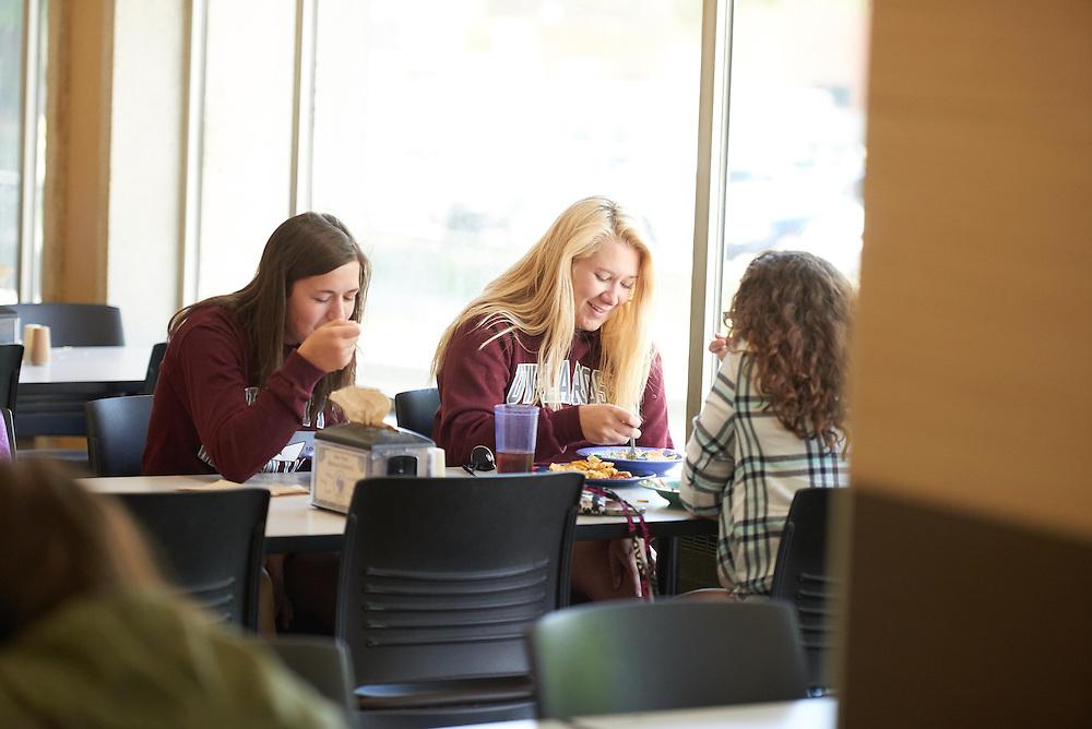 Activity; Eating; Buildings; Whitney Center; Location; Inside; People; Student Students; Spring; May; Type of Photography; Candid; UWL UW-L UW-La Crosse University of Wisconsin-La Crosse