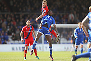 Jamie Allen challenges Ousmane Fane during the EFL Sky Bet League 1 match between Oldham Athletic and Rochdale at Boundary Park, Oldham, England on 22 April 2017. Photo by Daniel Youngs.