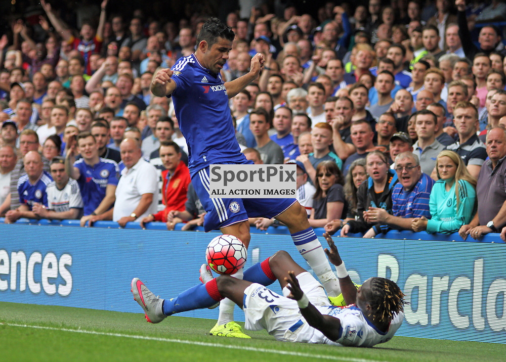 Diego Costa battles with Papa Souare During Chelsea vs Crystal Palace on Saturday the 29th August 2015