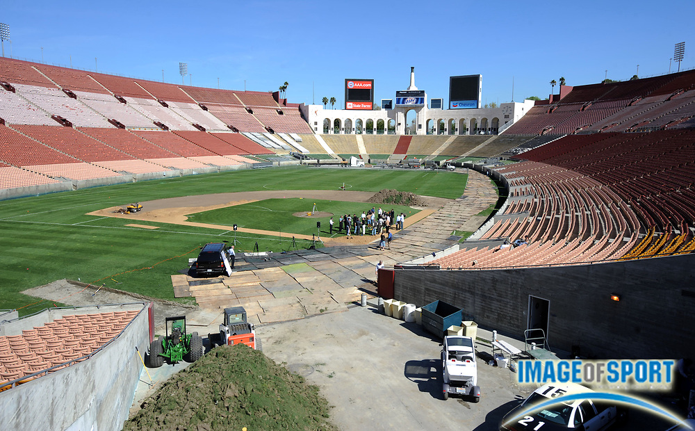 Feb 27, 2008; Los Angeles, CA, USA; General view of Los Angeles Memorial Coliseum at press conference to announce groundbreaking for exhibition game between the Boston Red Sox and Los Angeles Dodgers on Mar. 29, 2008.